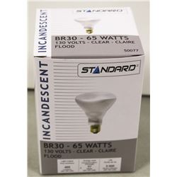 LOT OF 10 STANDARD INCANDESCENT 65 WATT BULBS