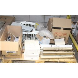 PALLET OF ASSORTED LIGHT FIXTURES AND CEILING FAN