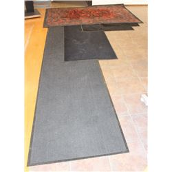 LOT OF 4 CARPET FLOOR MATS AND AREA RUG