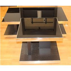GLASS TOPPED METAL RIMMED COFFEE AND END TABLE
