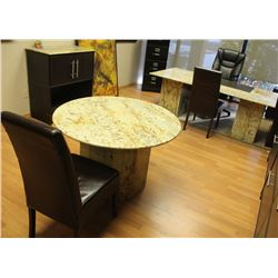 MARBLE OFFICE DESK, TABLE AND CABINET W/ 3 CHAIRS