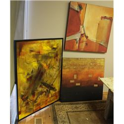LOT OF 3 LARGE CANVAS PRINTS