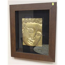"WOOD FRAMED BUDDHIST FACE ART 24"" X 28"""