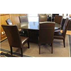 LARGE GRANITE TABLE WITH 7 CONFERENCE CHAIR