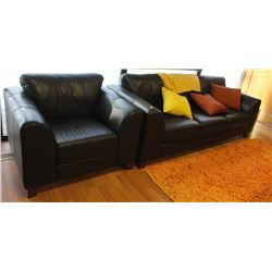 MATCHING SOFA AND CHAIR FAUX LEATHER