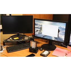 PAIR OF MONITORS WITH KEYBOARD AND MOUSE