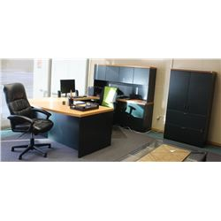 """U"" SHAPED OFFICE DESK 112"" X 71"" WITH 3 CABINETS"