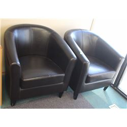 PAIR OF FAUX LEATHER RECEPTION CHAIRS