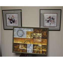 LOT OF TWO ABSTRACT PRINTS AND CANVAS