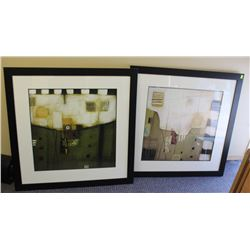 "LOT OF 2 ABSTRACT PRINTS 34"" X 34"""