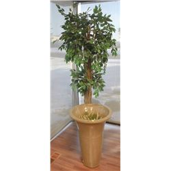 LARGE PLANTER WITH ARTIFICIAL TREE