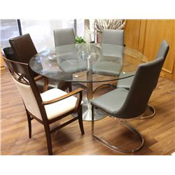 """ROUND 55"""" GLASS TOP TABLE WITH 5 ASSORTED CHAIRS"""