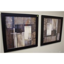 """PAIR OF ABSTRACT PRINTS 32"""" X 32"""""""