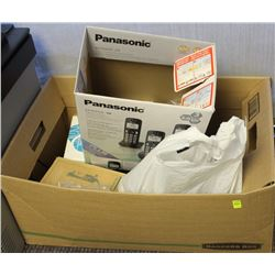 BOX OF ASSORTED CORDLESS PHONES AND OLD CELLPHONES