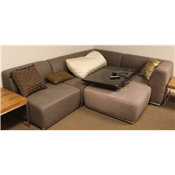 GREY SHOW HOME SECTIONAL WITH OTTOMAN
