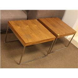 PAIR OF WOOD TOP METAL END TABLES