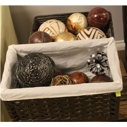 PAIR OF WICKER DECOR BASKETS WITH CONTENTS