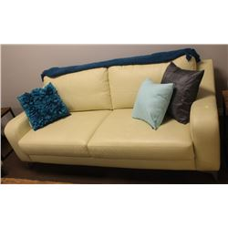 "EGGSHELL FAUX LEATHER SOFA 77"" X 38"""