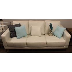 "WHITE FAUX LEATHER SOFA 75"" X 35"""