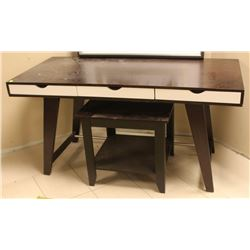 MODERN WOODEN DESK AND END TABLE