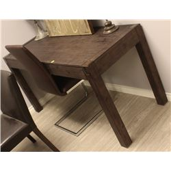 WOODEN DESK WITH BROWN FAUX LEATHER CHAIR