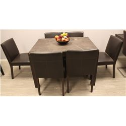 "SHOWROOM 48"" X 36"" WOOD KITCHEN TABLE W/ 6 CHAIRS"