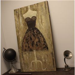 2 DECOR PIECES WITH LARGE CANVAS TEXTURED PAINTING