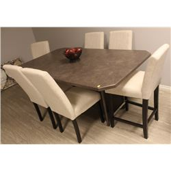 ARBORITE KITCHEN TABLE WITH 6 WHITE FABRIC CHAIRS