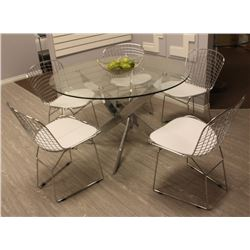 "ROUND 48"" GLASS TOP MODERN METAL KITCHEN TABLE"