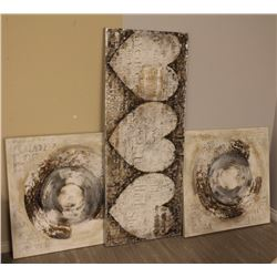 LOT OF 3 WHITE ABSTRACT TEXTURED CANVASES