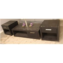 DARK WOOD GRAIN END TABLES AND COFFEE TABLES