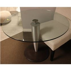 "40"" MODERN GLASS TOP ROUND KITCHEN TABLE"