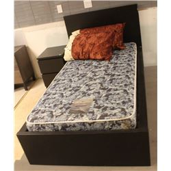 SHOWHOME SINGLE BLACK BED FRAME WITH MATTRESS
