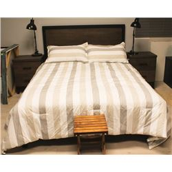 SHOWHOME DOUBLE WOOD STYLE BED FRAME, MATTRESS