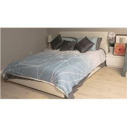 SHOWHOME DOUBLE FAUX LEATHER WHITE BED FRAME