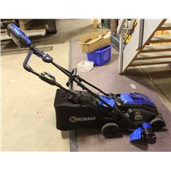 KOBALT 40V CORDLESS TRIMMER AND MOWER WITH CHARGER