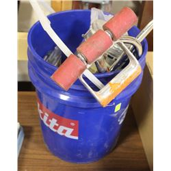PAIL OF CASTERS, STAPLES, SAWS AND MORE