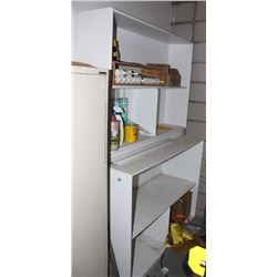 PAIR OF WOOD SHELVING UNITS WITH CONTENTS