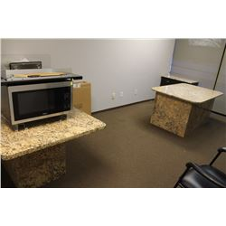 BROWN MARBLE TABLE COMPUTER DESK AND CABINET