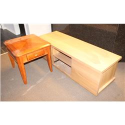 SHOWHOME WOOD STYLE TV STAND WITH END TABLE