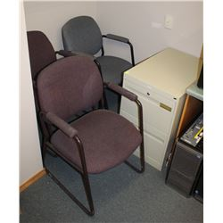3 WAITING ROOM CHAIRS AND SMALL FILING CABINET