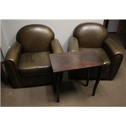 PAIR OF BROWN FAUX LEATHER SOFA CHAIRS