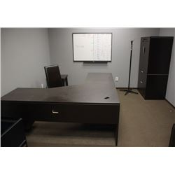 """""""L"""" SHAPED DESK, CHAIR, SIDE TABLE"""