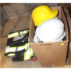 BOX OF ASSORTED HARD HATS AND FLAGGING GEAR