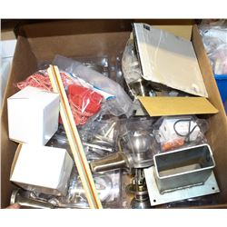 BOX OF ASSORTED DOOR HANDLES AND MORE