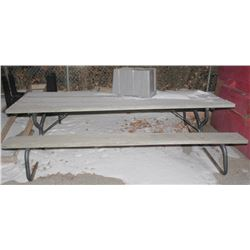 WOOD PICNIC TABLE WITH METAL FRAME