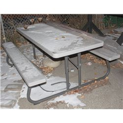 PLASTIC PICNIC TABLE WITH METAL FRAME
