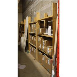 LOT OF 6 FOUR TIER WOODEN SHELVING UNITS