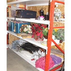 LOT OF SHOWHOME BLANKETS AND FLORAL DECOR