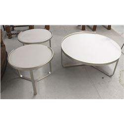 ROUND FROSTED GLASS COFFEE TABLE AND END TABLE